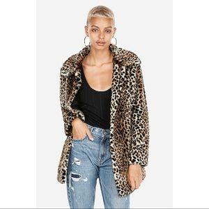 NWT [express] leopard print faux fur coat